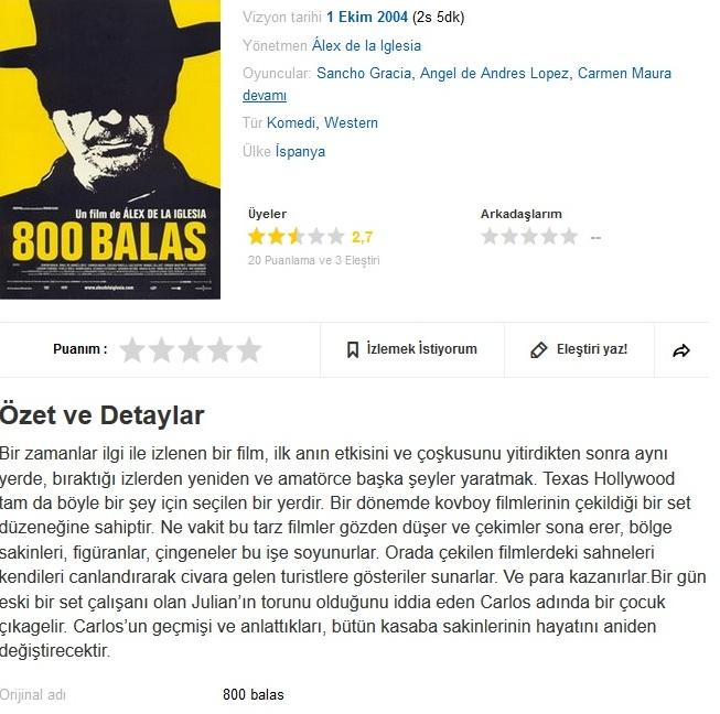 800 Damla Yaş (800 Balas) 2002 Bluray 1080p.x264 Dual Türkce Dublaj - barbarus