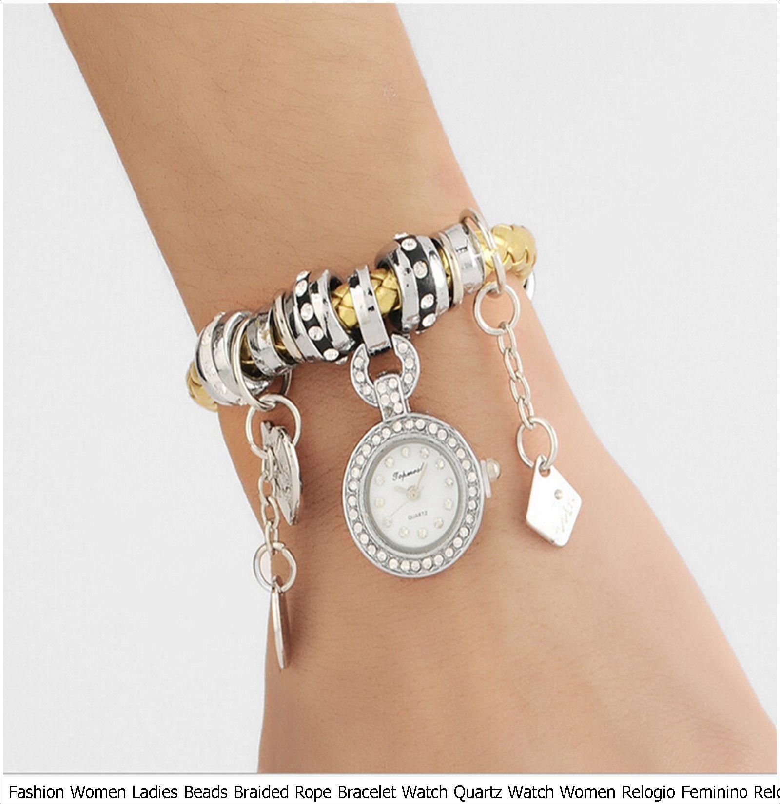 Fashion Women Ladies Beads Braided Rope Bracelet Watch Quartz Watch Women Relogio Feminino Relojes Watches