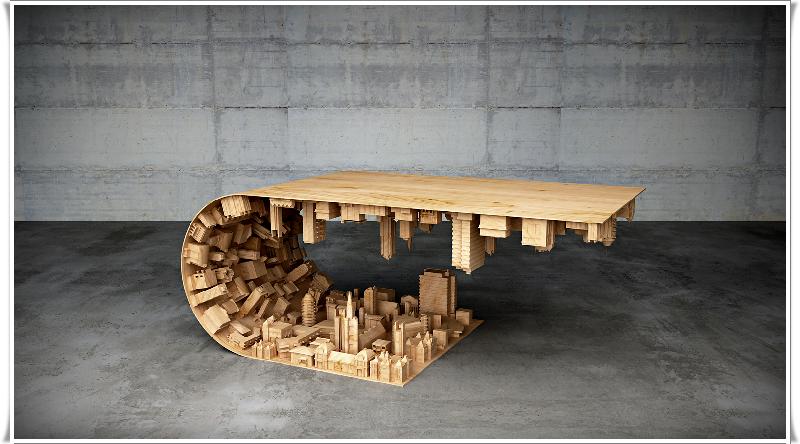 Şehir oymalı eğik masa