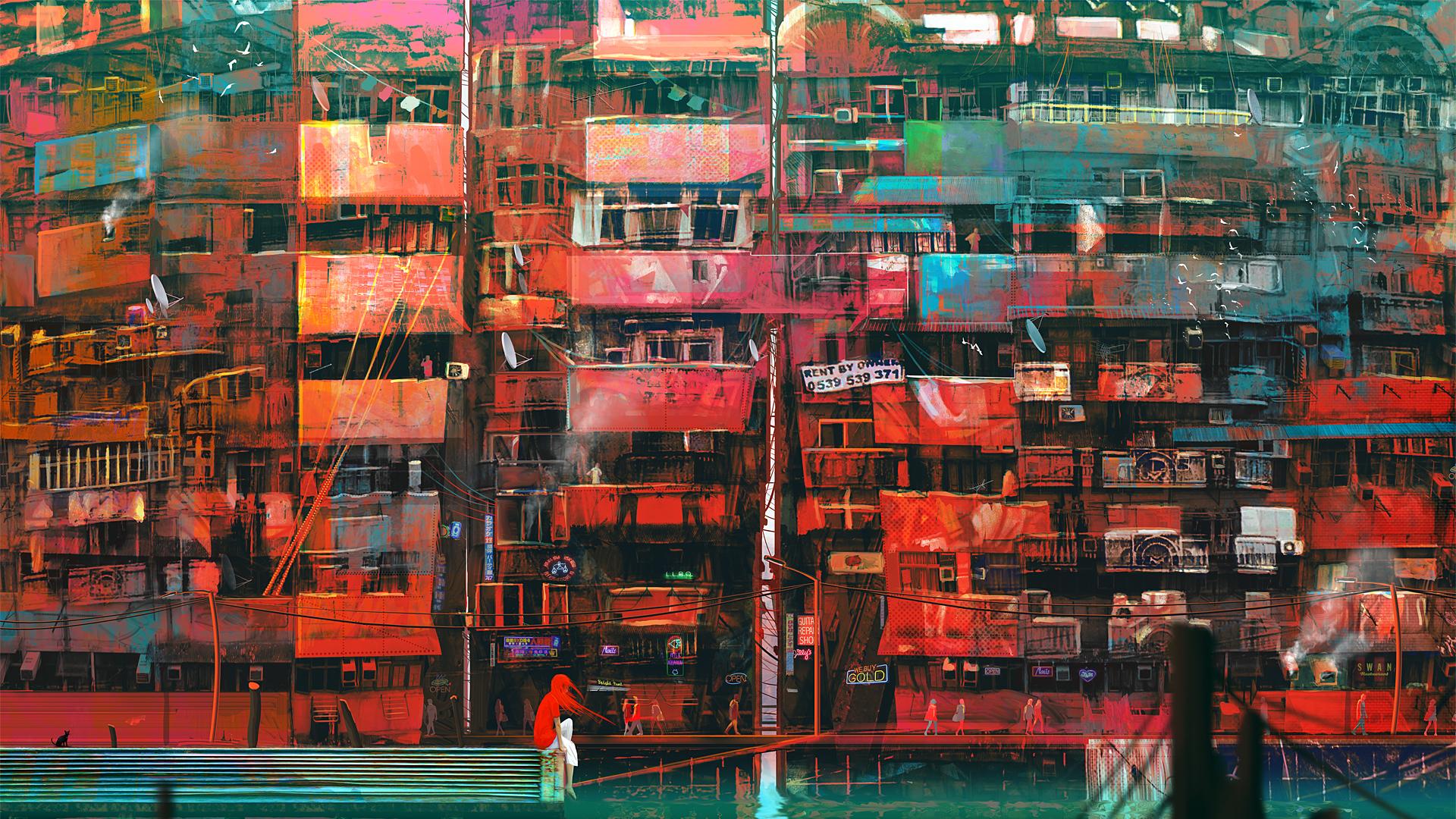 red apartment