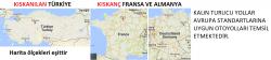 Türkiyedeki Avrupa standartlarına uygun otoyolların haritası