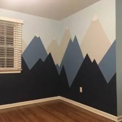 duvara dağ manzarası boyama