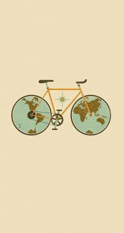 world shaped bicycle rider